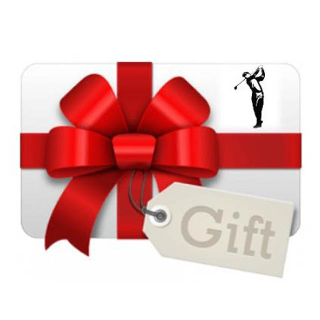 present with red bow, gift tag and a stamp of a golfer swinging club