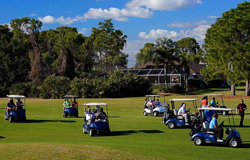 Members Driving Golf Carts