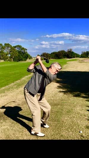 Golfer Mid-Swing