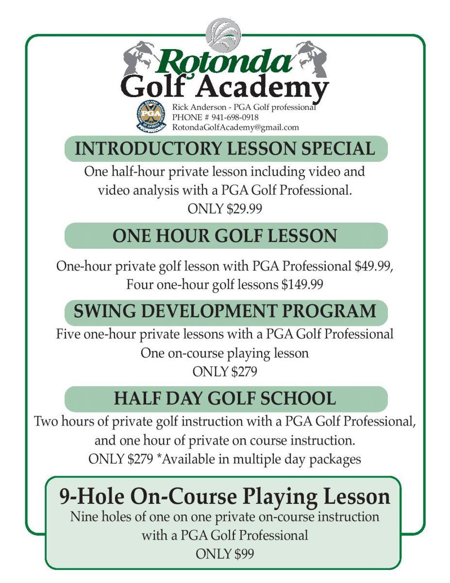 Rotonda Golf Academy price list flyer