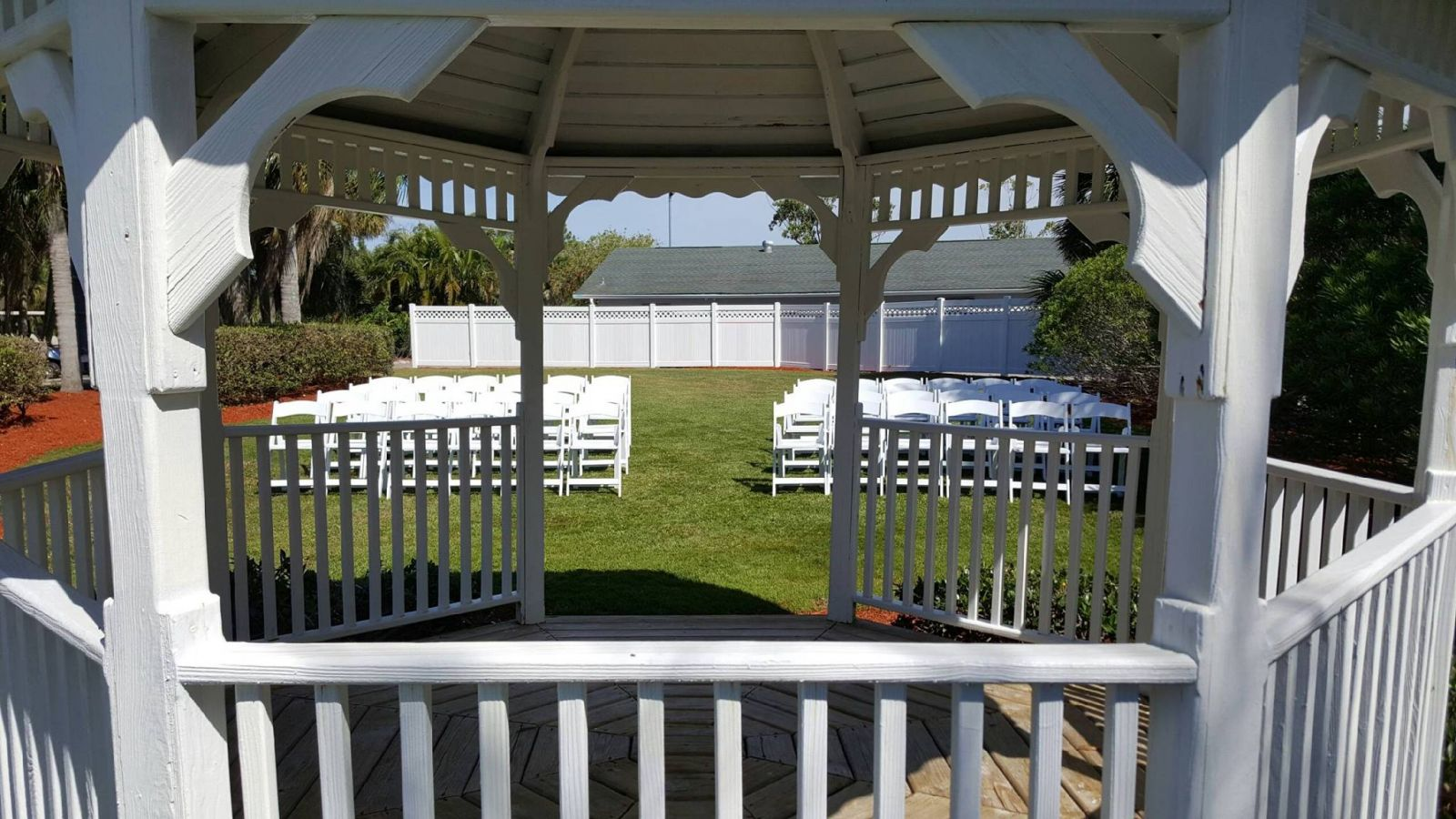View looking through the gazebo to the guests seating area