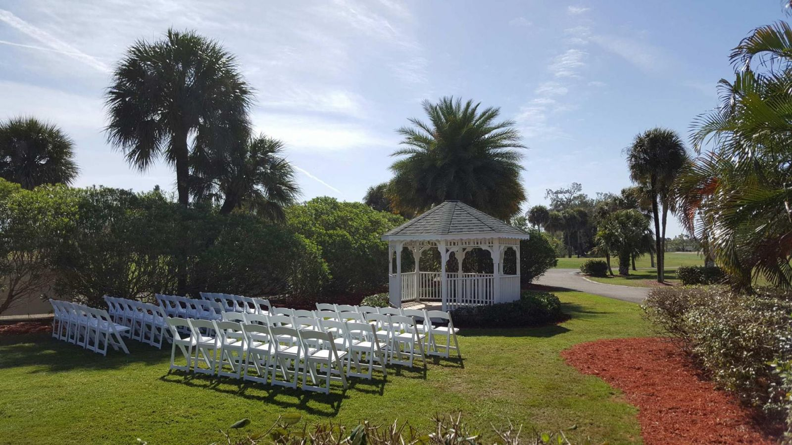 View of guests seating area and gazebo