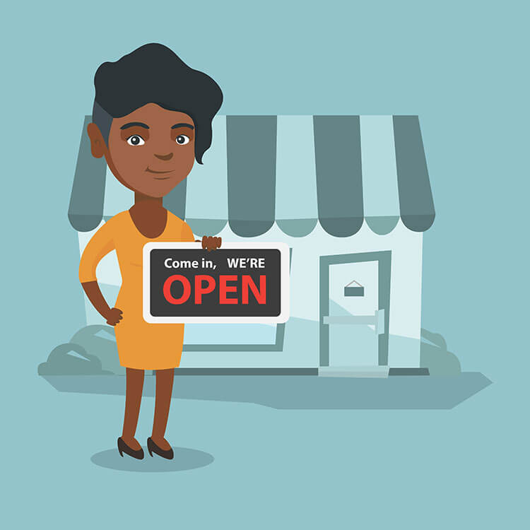 graphic image of an african american lady standing in front of her business