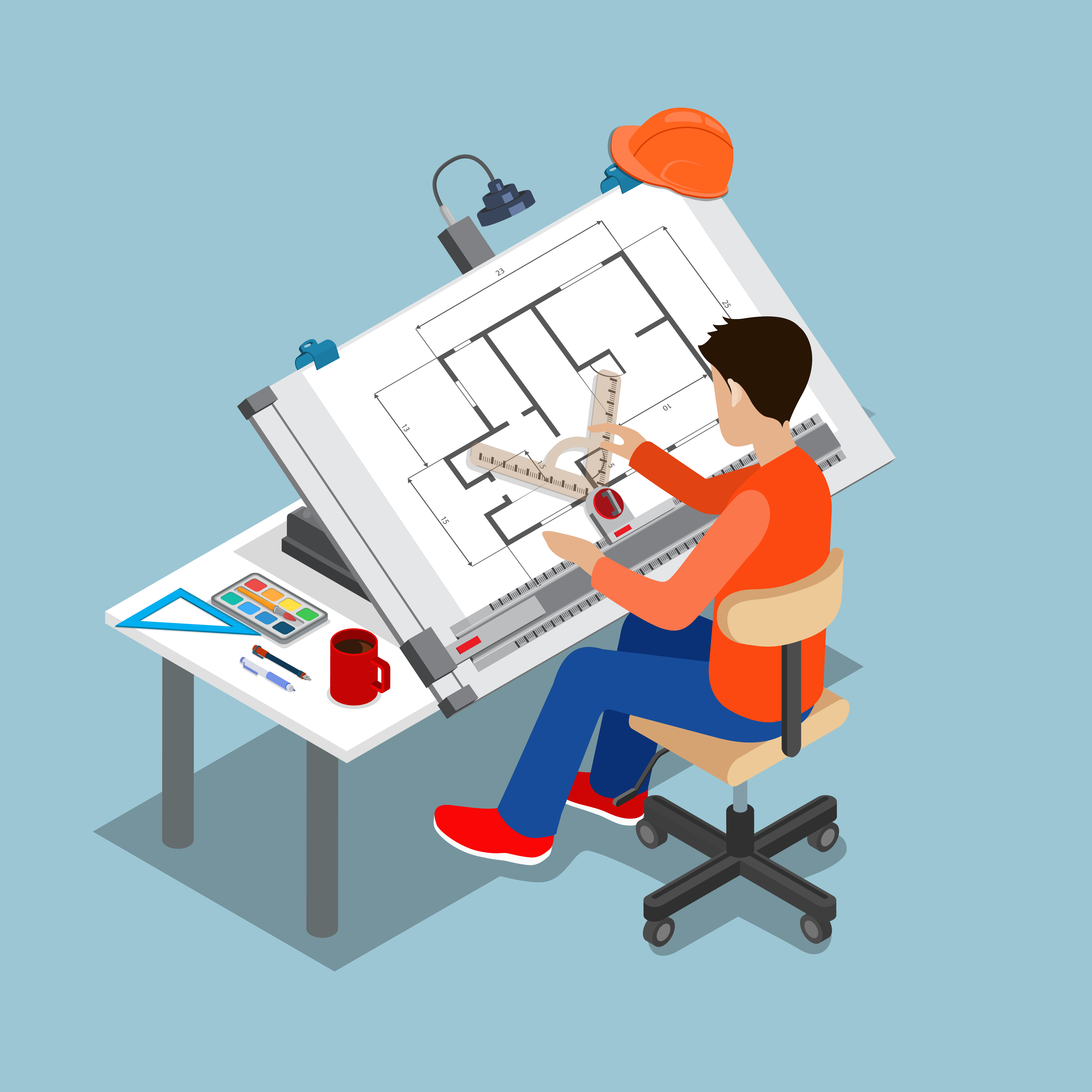 Graphic image of a man drawing plans