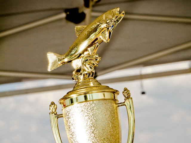 close-up of golden fishing trophy