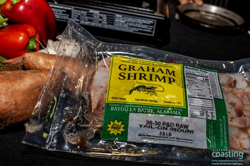 close-up of packaging of local Graham Shrimp food product