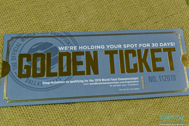 Close-up of Golden Ticket event award