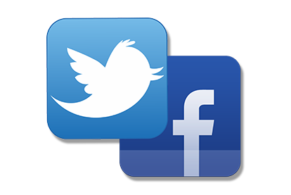 Twitter and Facebook icons stacked together