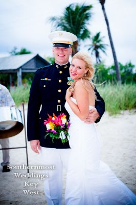 Bride & Groom on Smathers Beach by Southernmost Weddings Key West