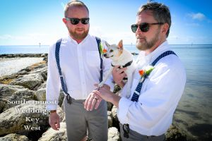 Gay Wedding Couple on Smathers Beach by Southernmost Weddings