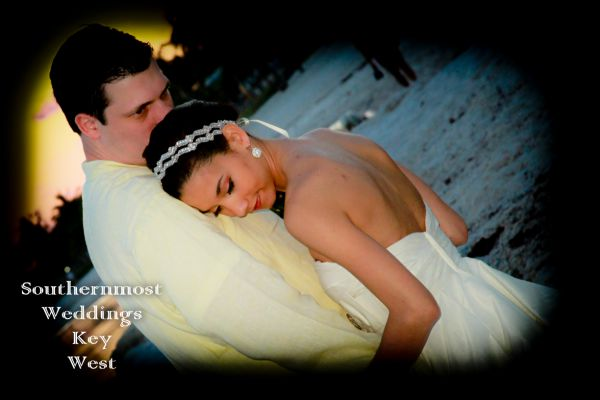 Wedding Couple on the beach at Sunset after being married by Southernmost Weddings Key West