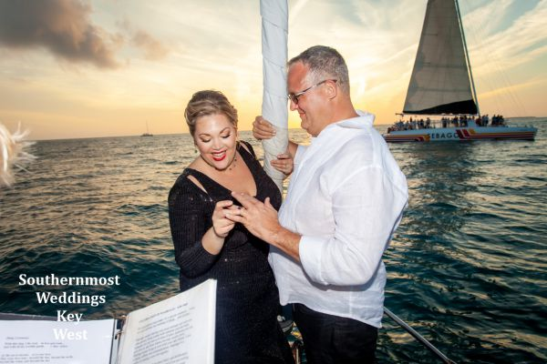 Wedding Ceremony performed by the Captain of the sailboat just before sunset.