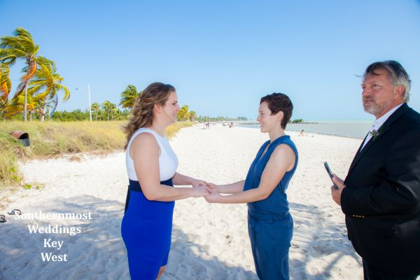 Two Women get married by Southernmost Weddings on Smathers Beach in Key West, Florida