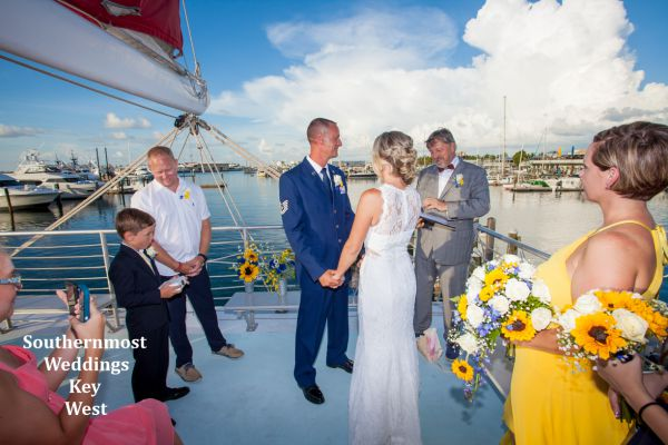 Private Catamaran Sunset Sail Wedding off the coast of Key West, Florida. Only $5545.00 Includes tax, fees & crew gratuity