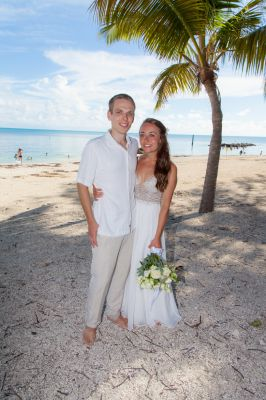 Wedding couple poses for photos at Ft. Zachary Taylor in Key West Florida