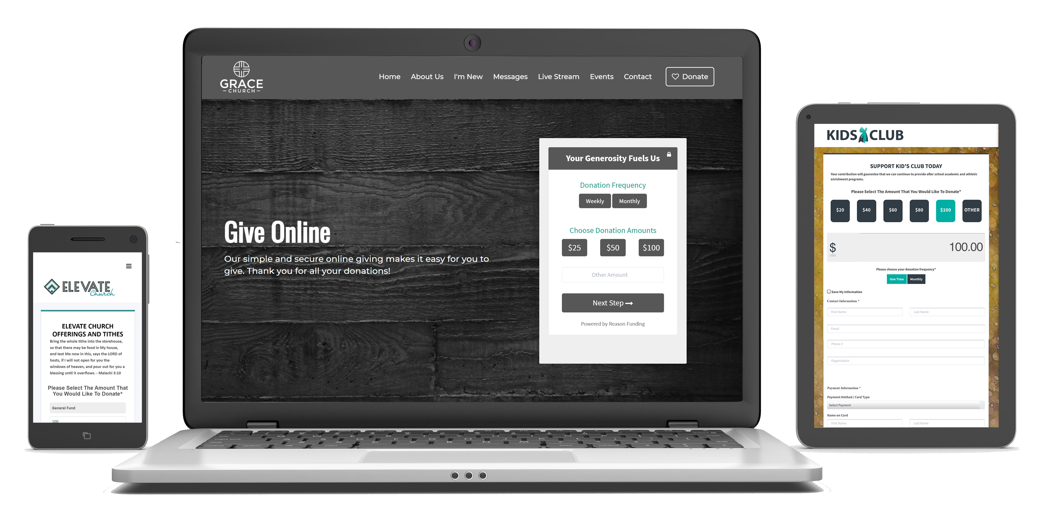 Customize your online giving pages