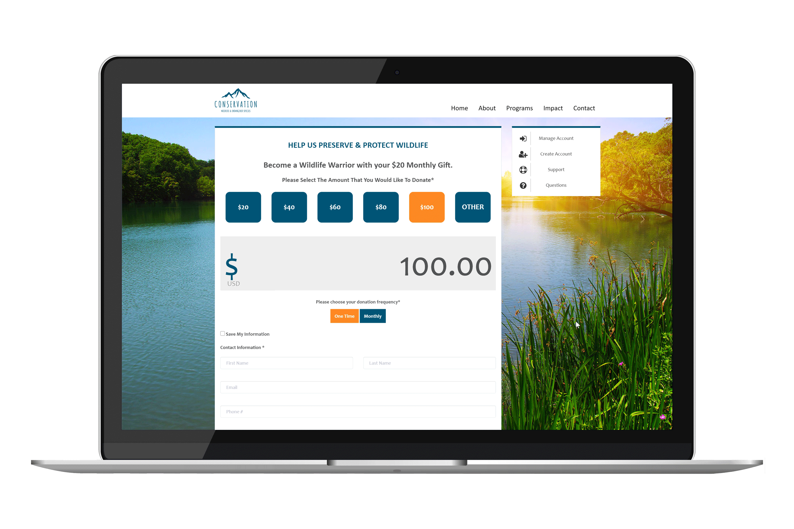 Reason Funding Online Giving Page For Conservation Focused Nonprofit