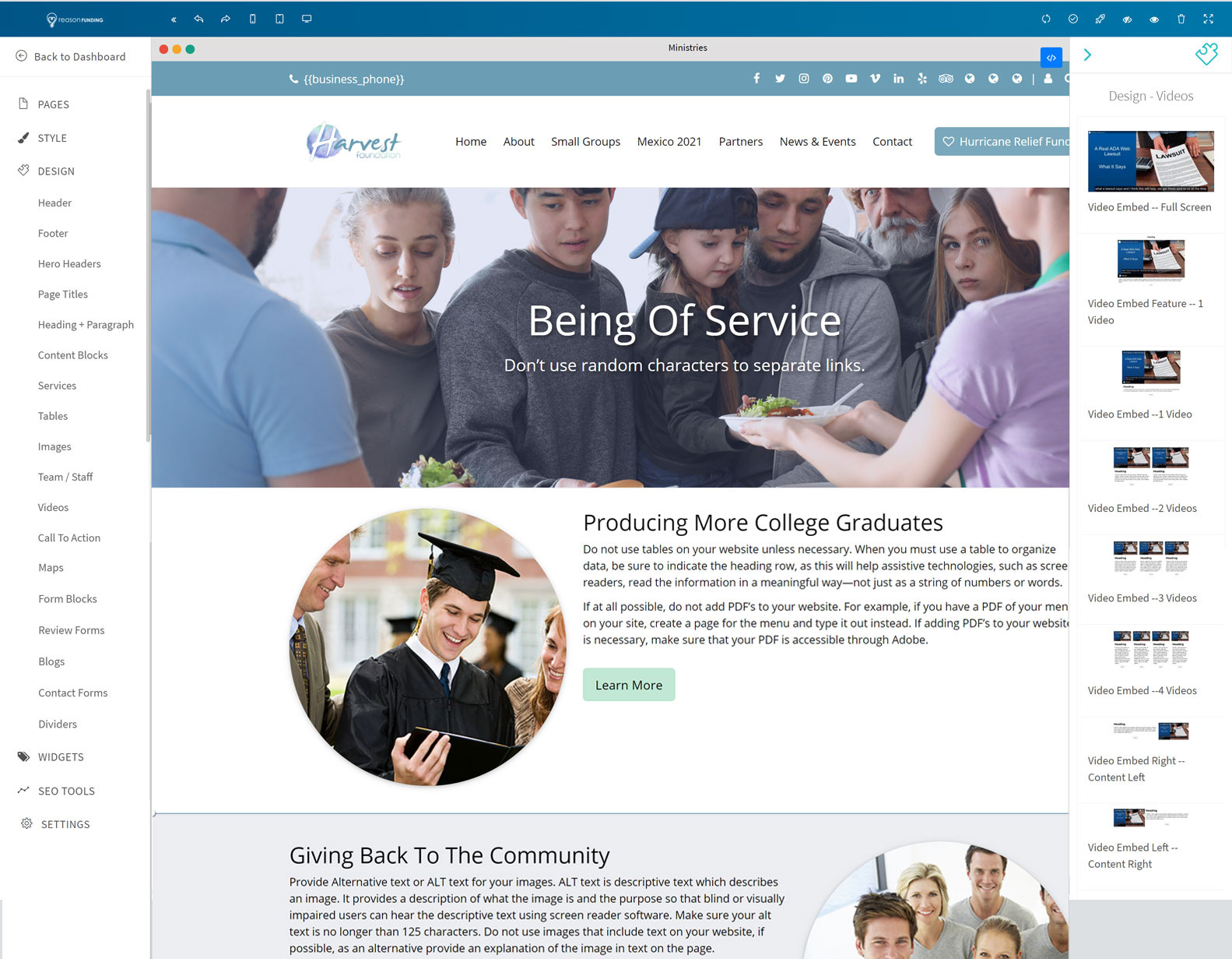Reason Funding Website Builder