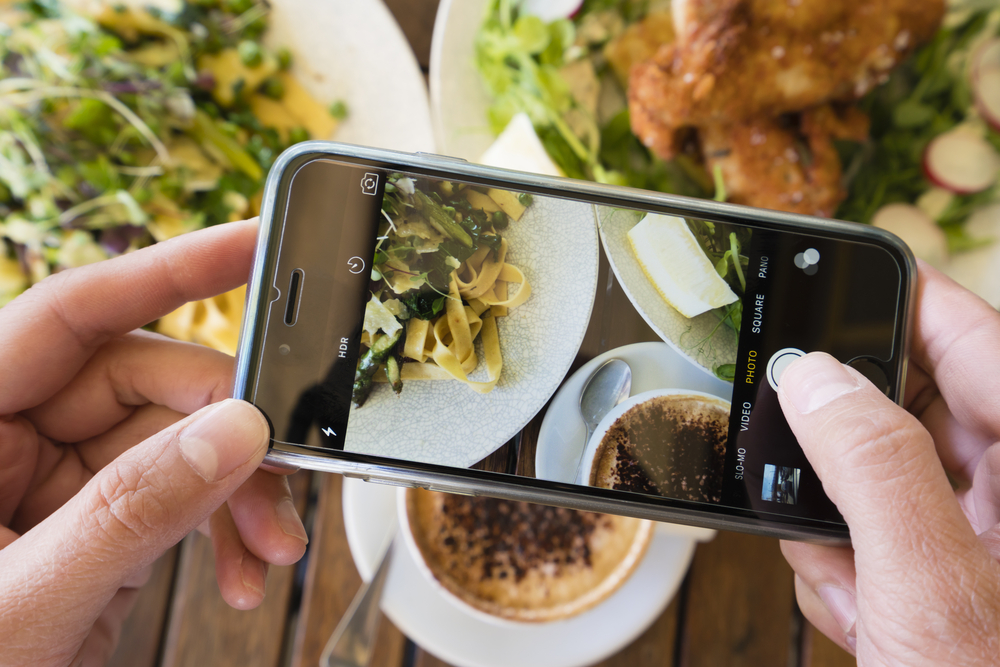 Taking a photo of a pasta dish