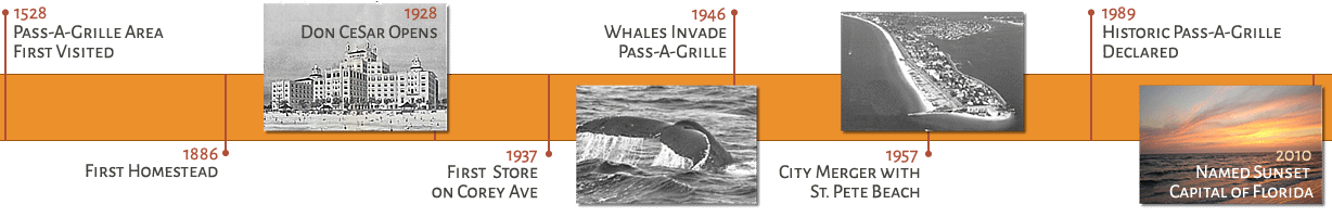 Timeline of the Pass-a-Grille area from 1528-2010