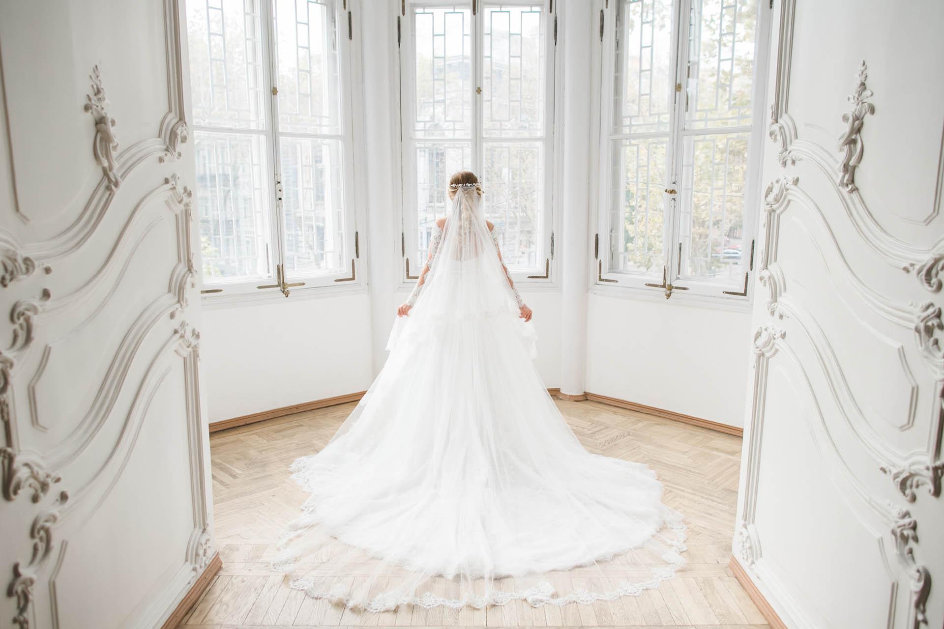 Bride in beautiful elegant room