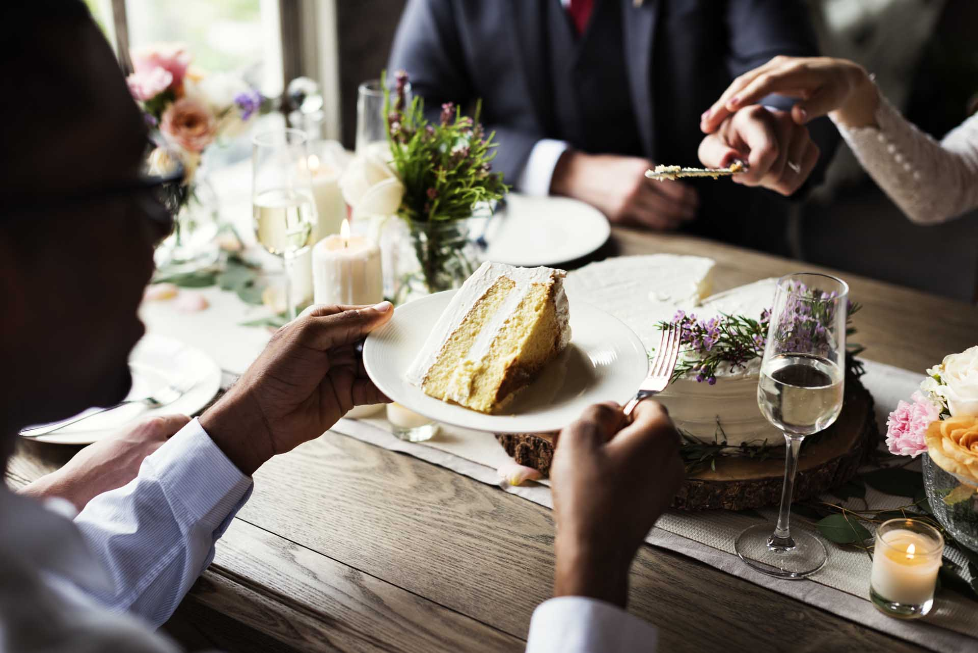 Wedding Cake Being Served