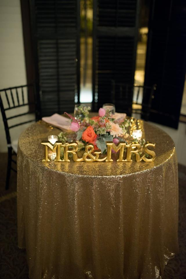 Wedding Table Setting for Bride and Groom