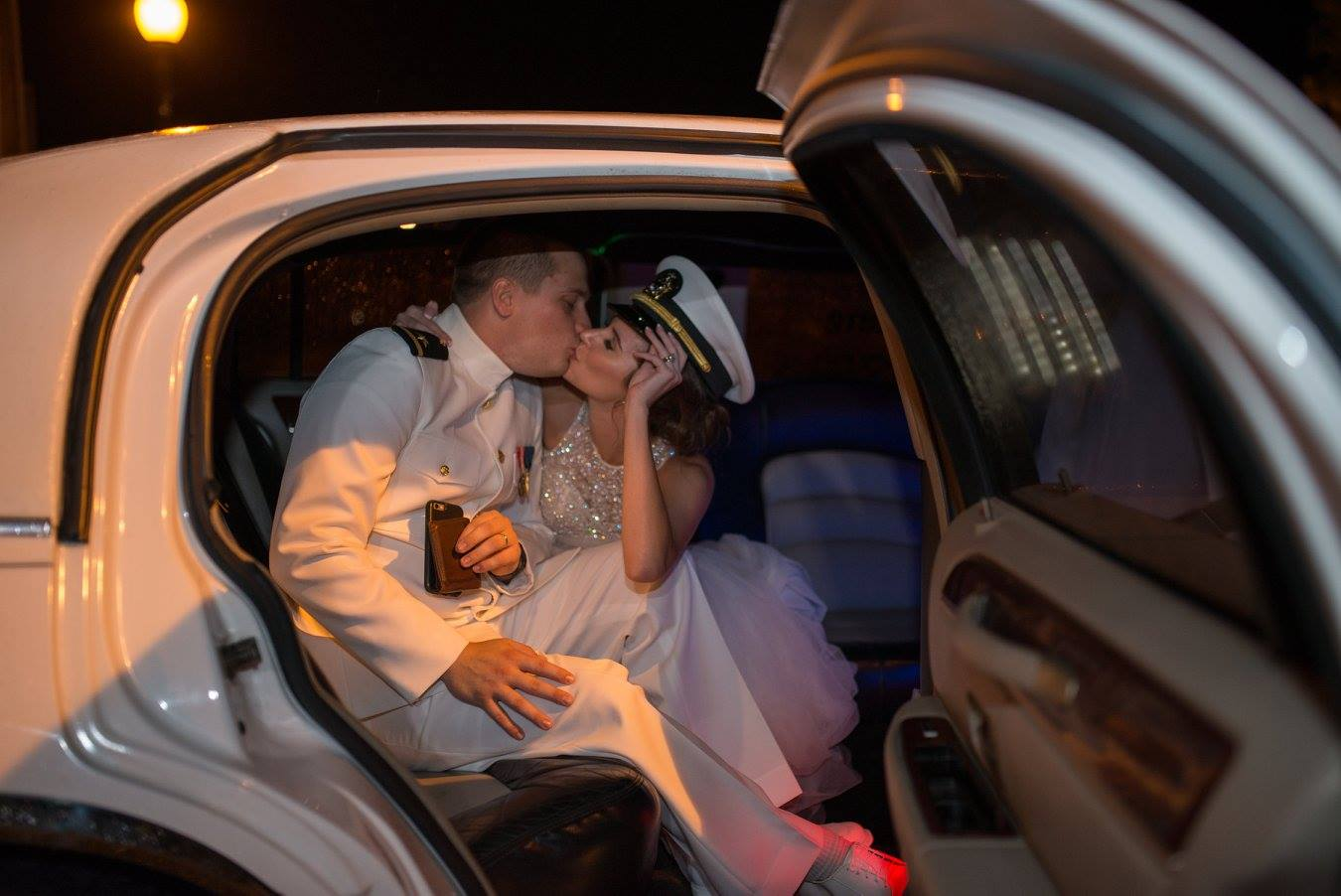 Couple Kissing In Limousine