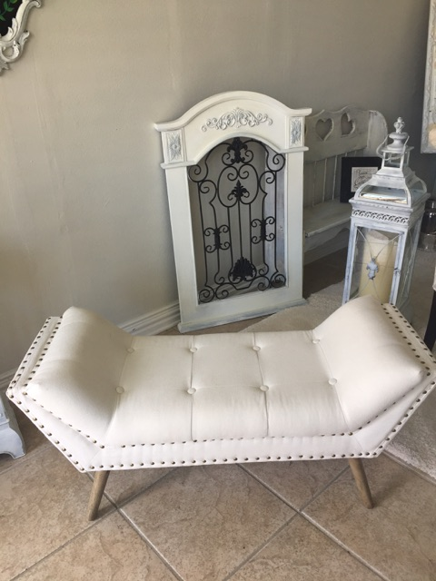 White love seat for staging wedding pictures