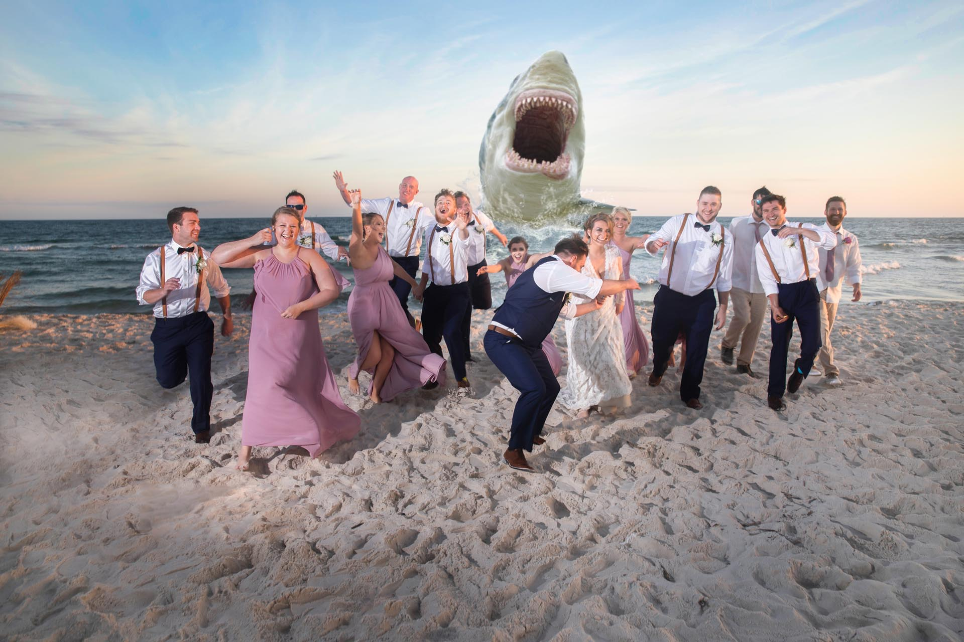 Wedding party running from shark