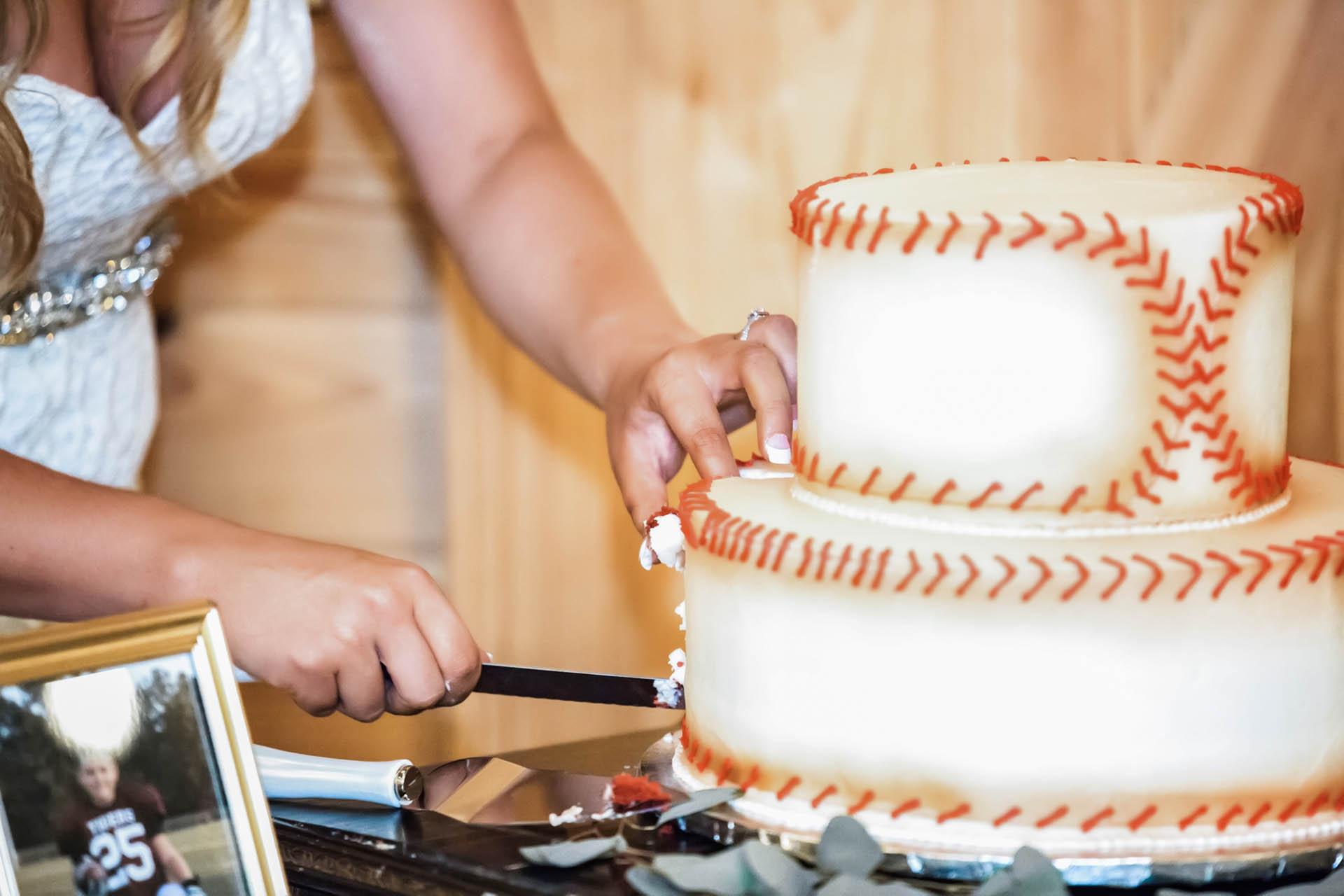 Bride cutting the wedding cake