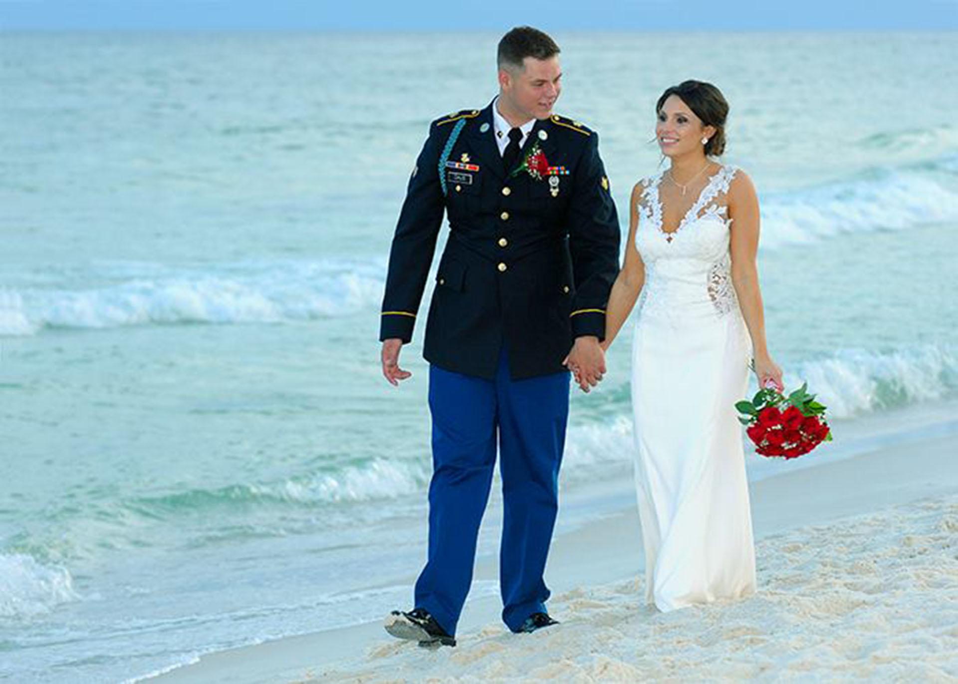 Bride walking the beach