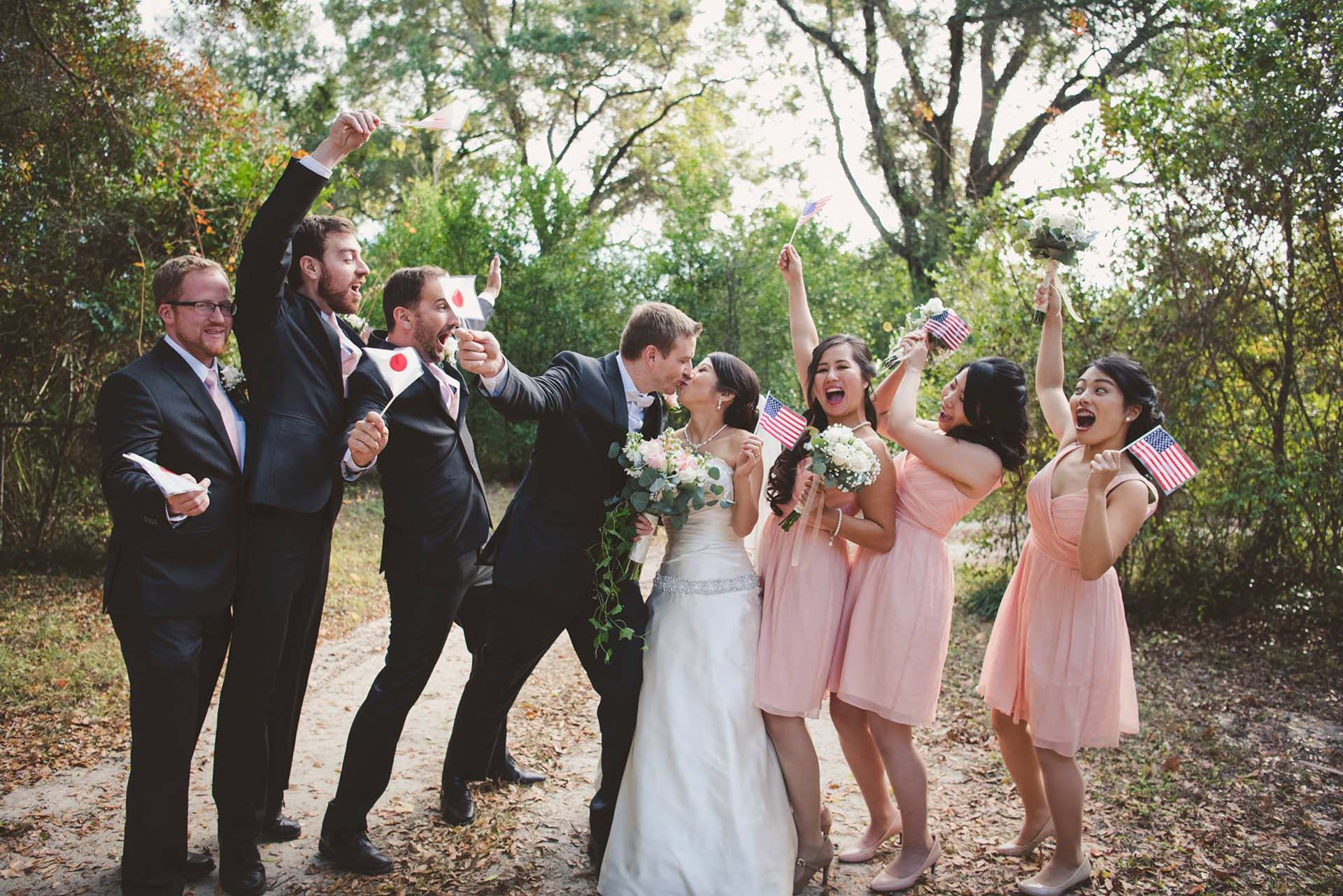 Bridal party celebrating