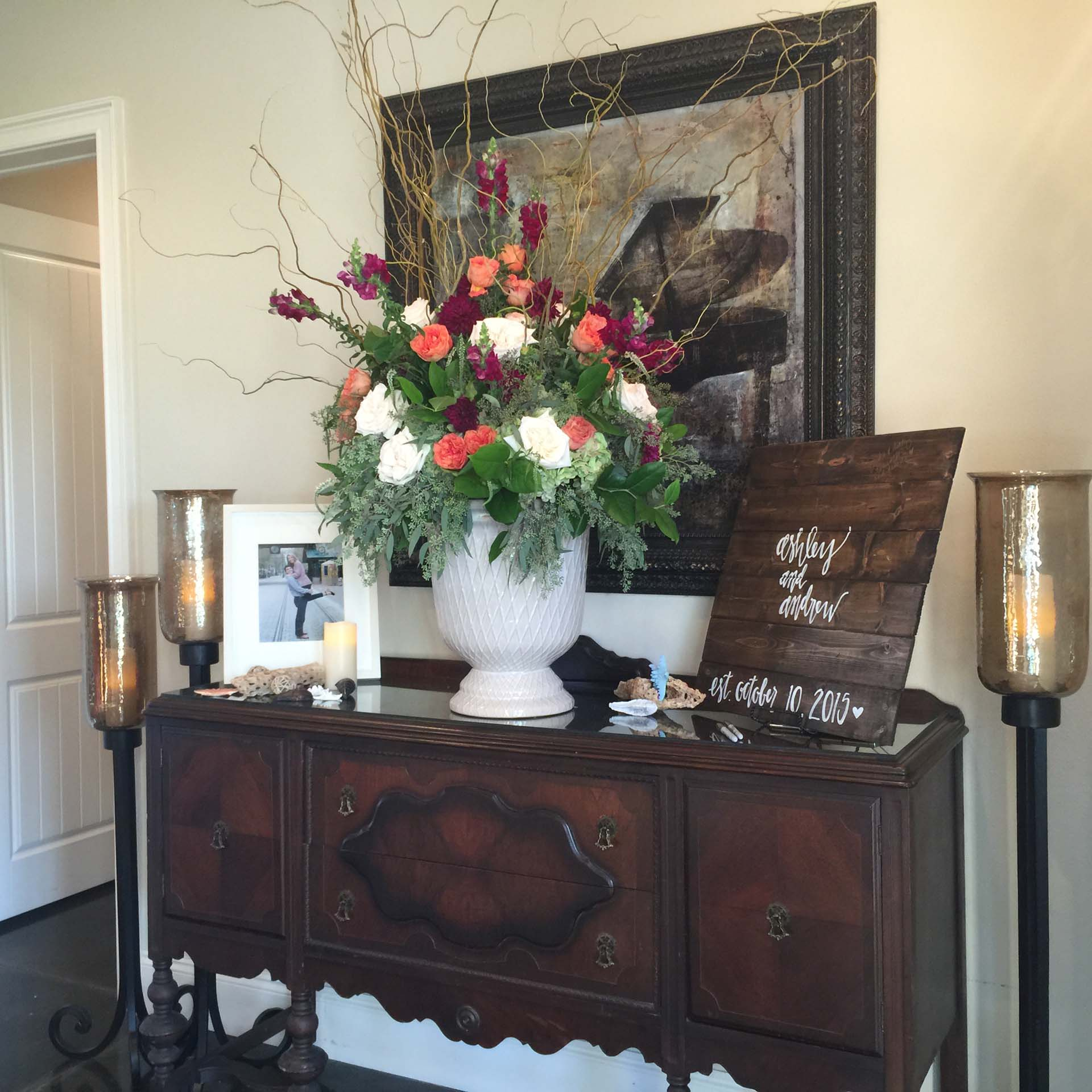 Flower arrangement at wedding