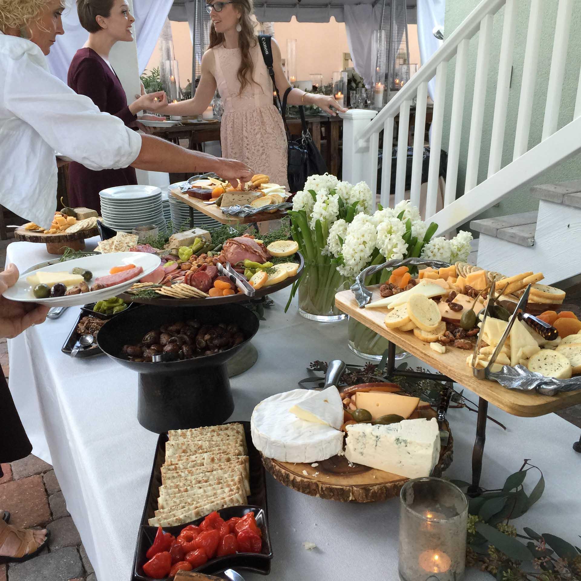 Food being served at wedding