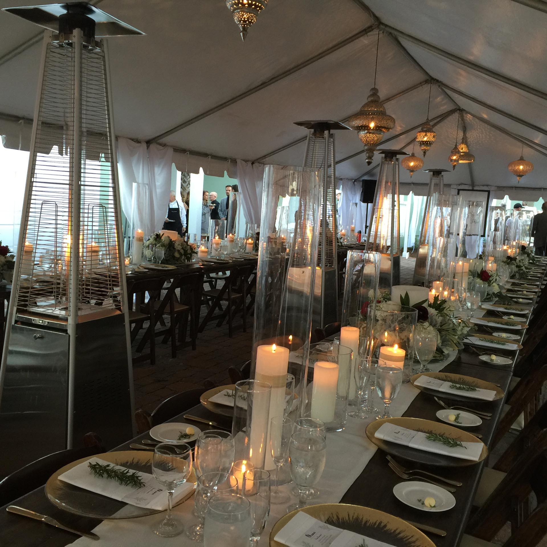 Dining area with heaters for wedding guests