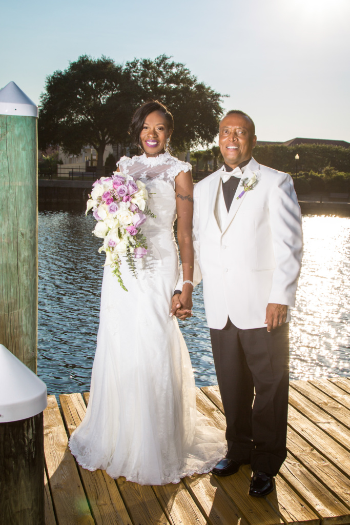 Bride and her Father on a dock