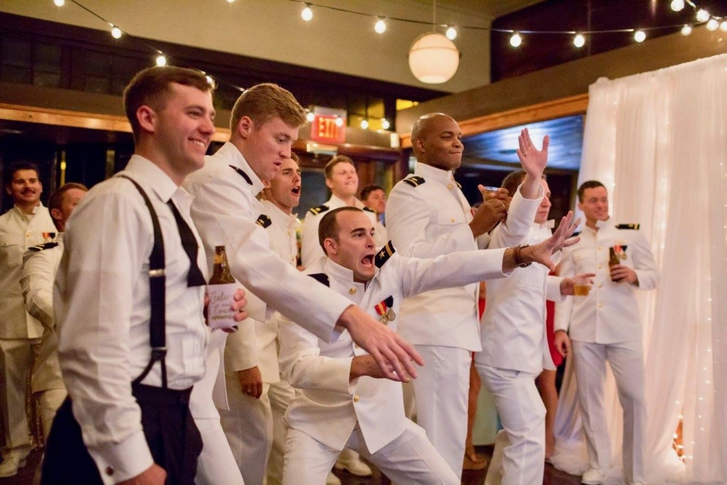 Groom and his groomsmen celebrating