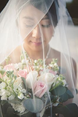 Bride with her veil on