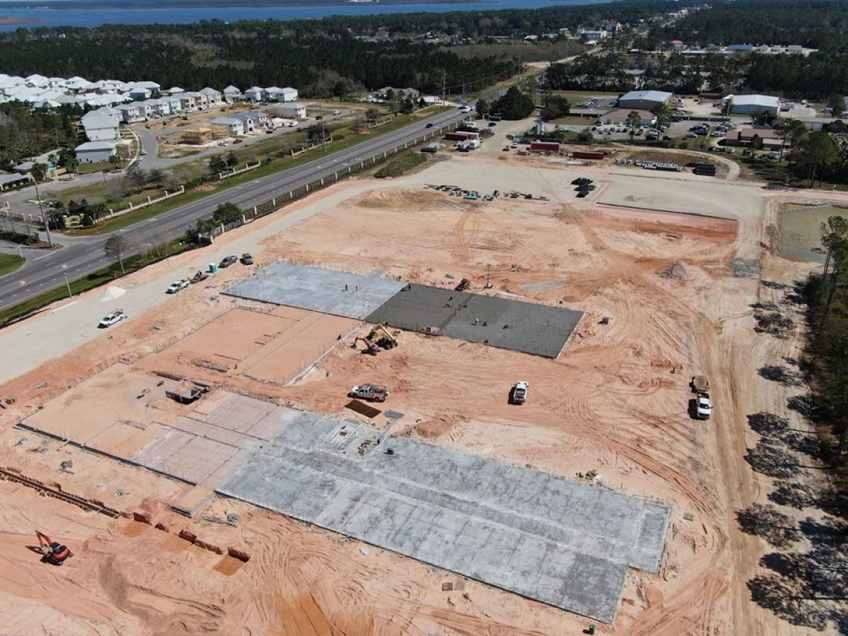 aerial view of Orange Beach highschool construction underway