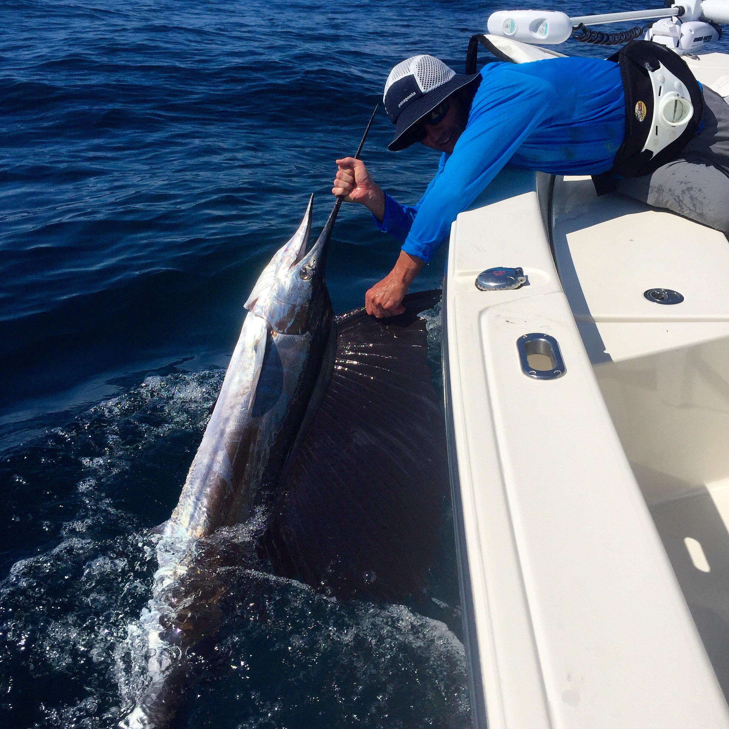 Man Releasing Sailfish Boat-side