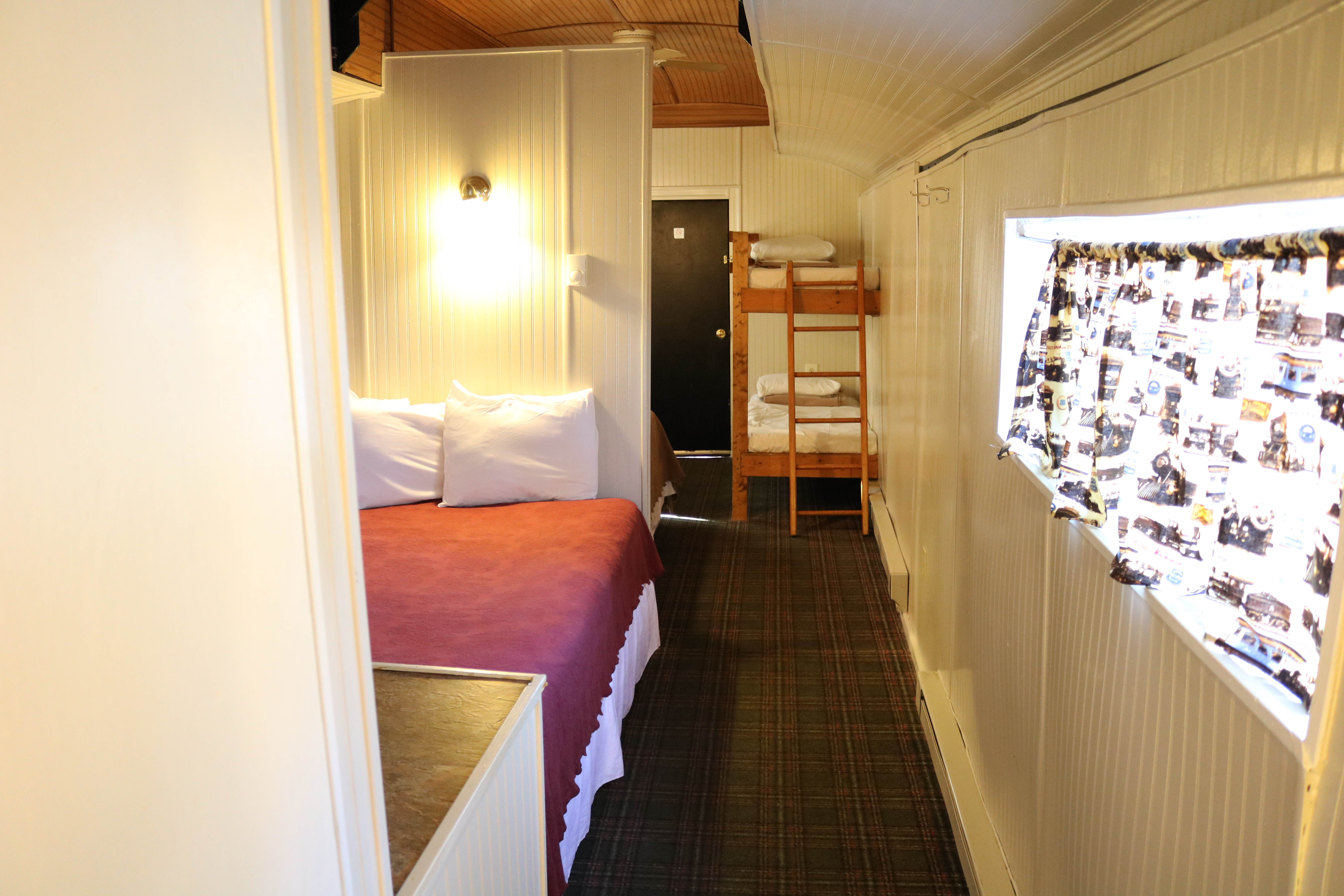 interior view of baggage car motel room