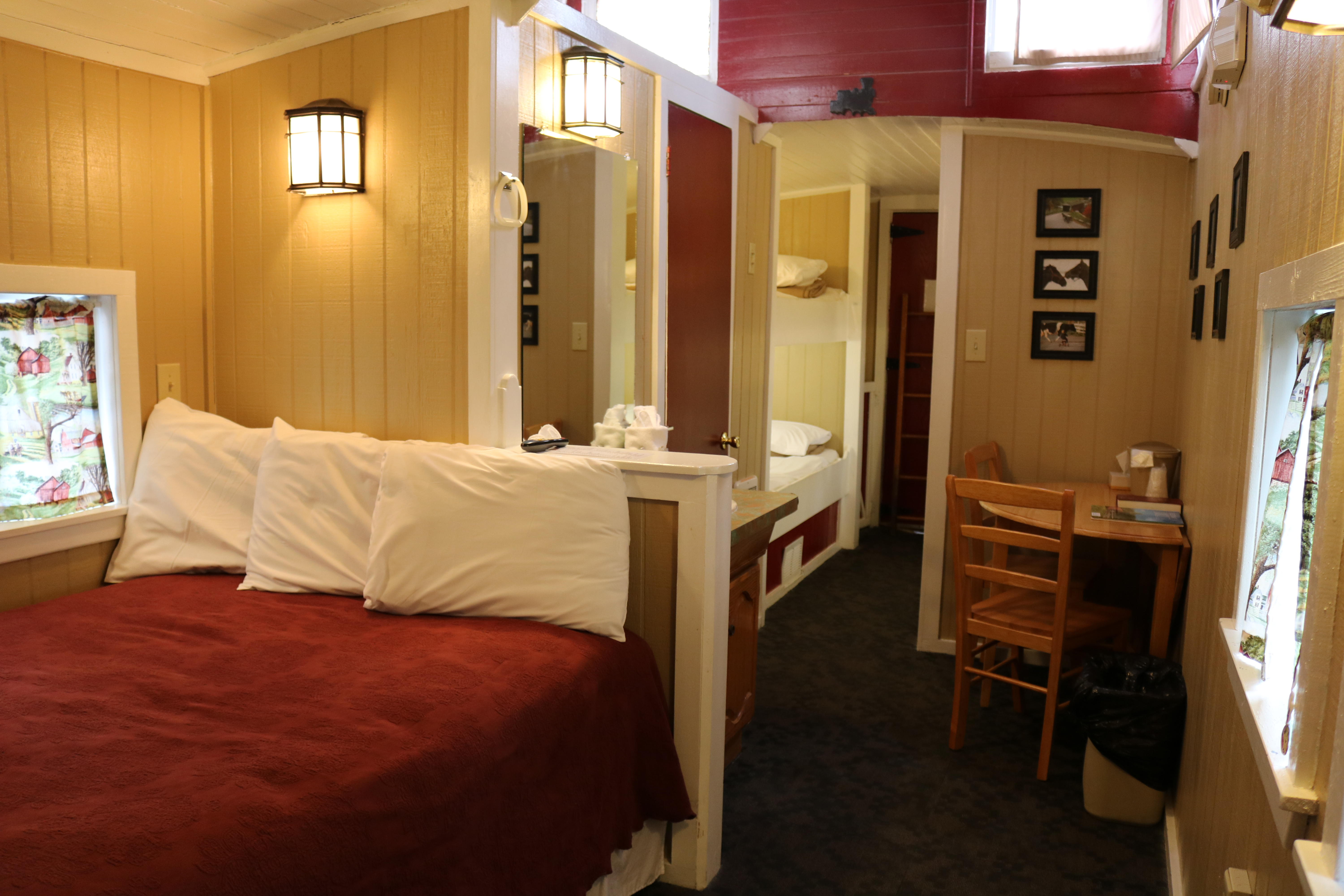 interior view of large family caboose motel room