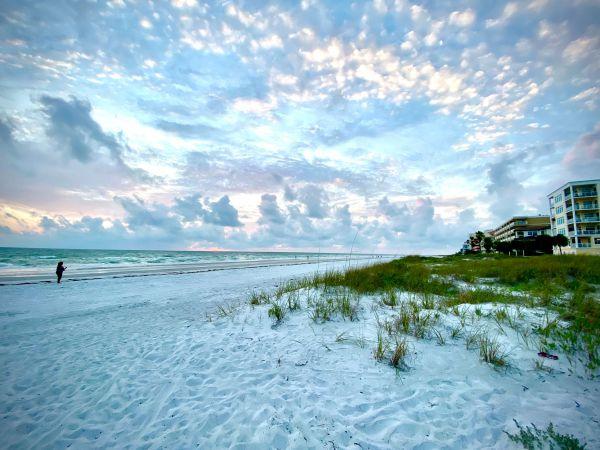 White cloudy view on beach