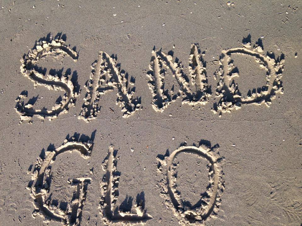 Sand Glo written into sand