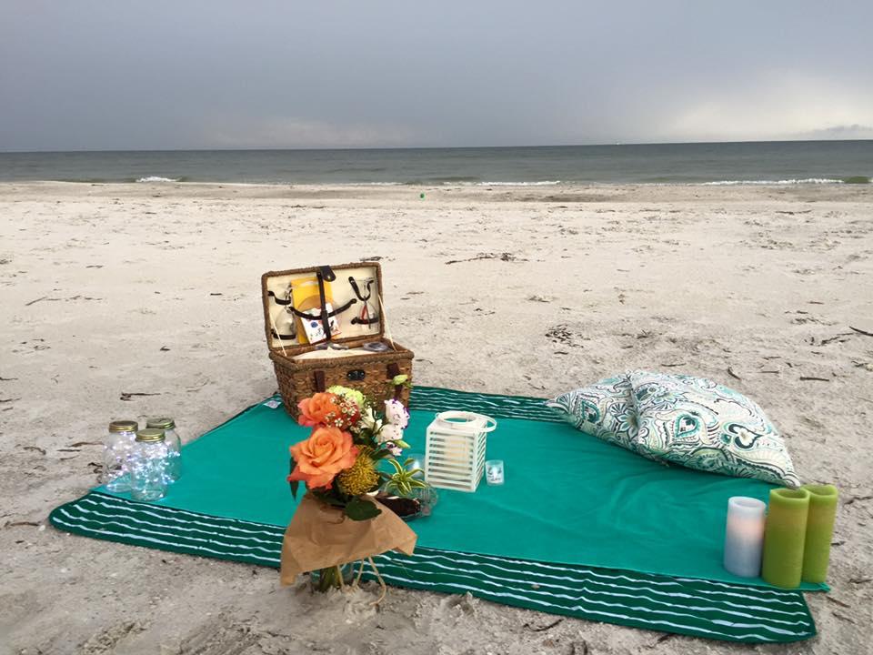 picnic setup on beach