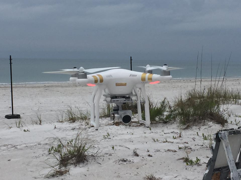 view of drone and beach