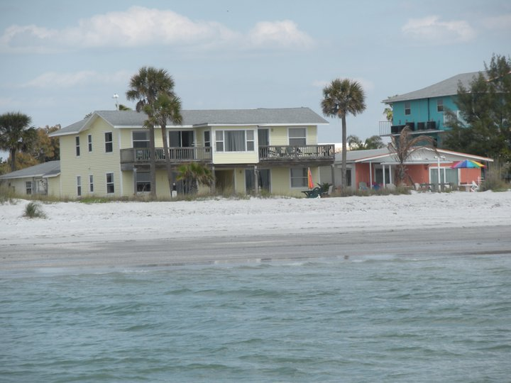 view of villas from ocean