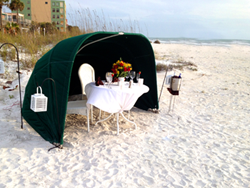 private dinner cabana on beach