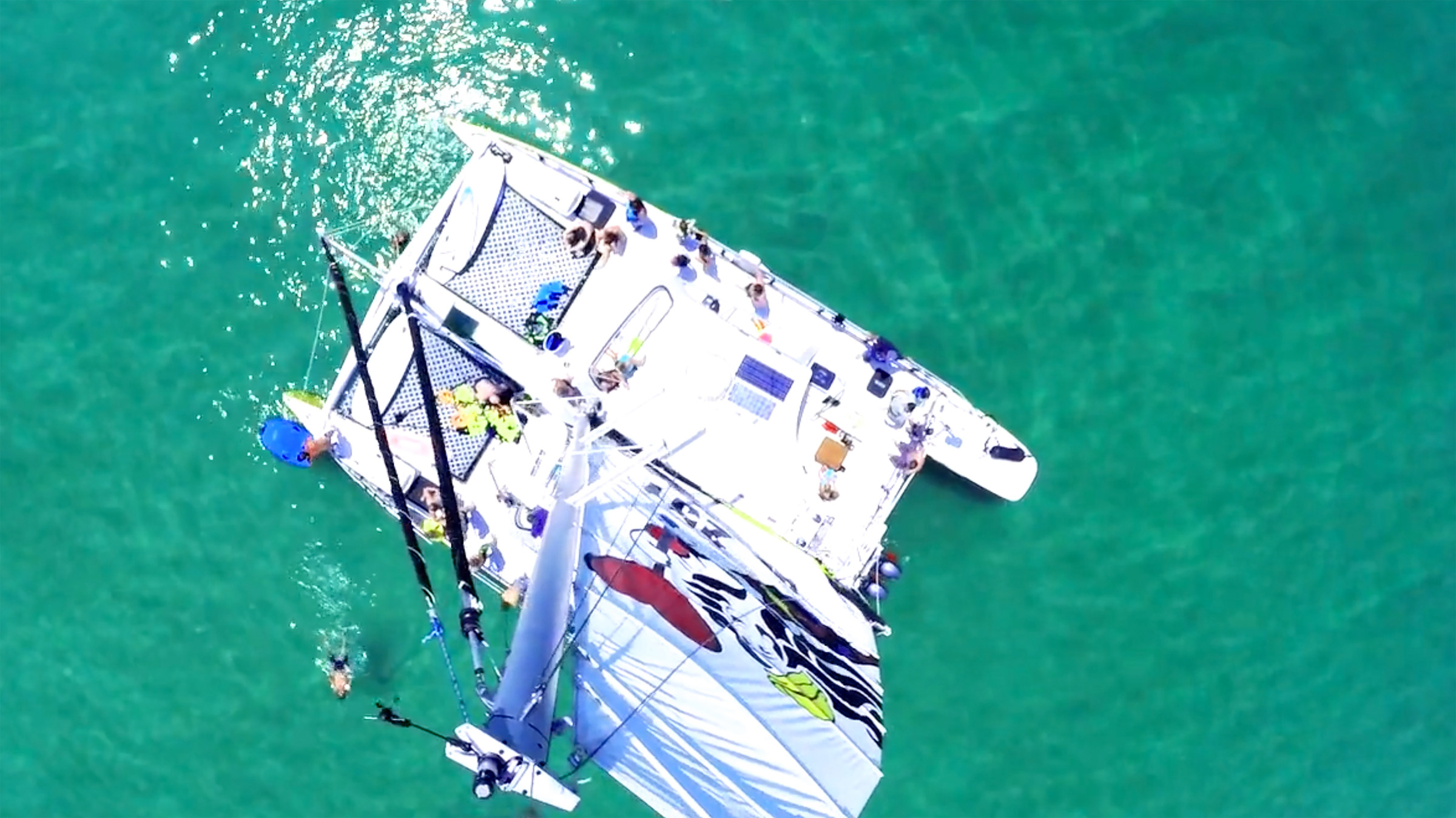 aerial view of catamaran